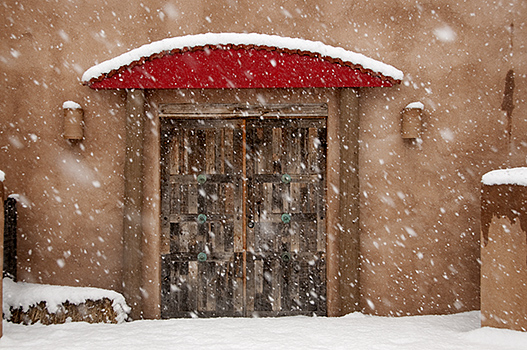 Cerillos Red Door in Snow